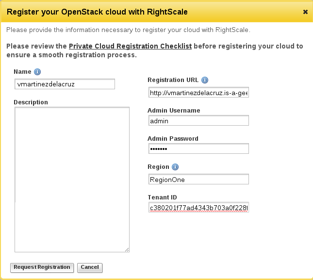 RightScale: Register your OpenStack cloud