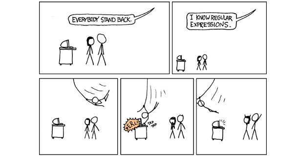 Looking through the logs can be tricky... not if you know how to use regular expressions! - Regular Expressions by xkcd https://xkcd.com/208/
